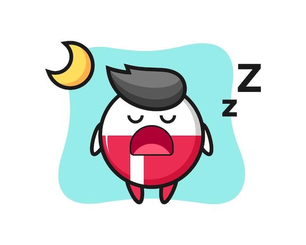 Polen flaggenabzeichen charakter, der nachts schläft