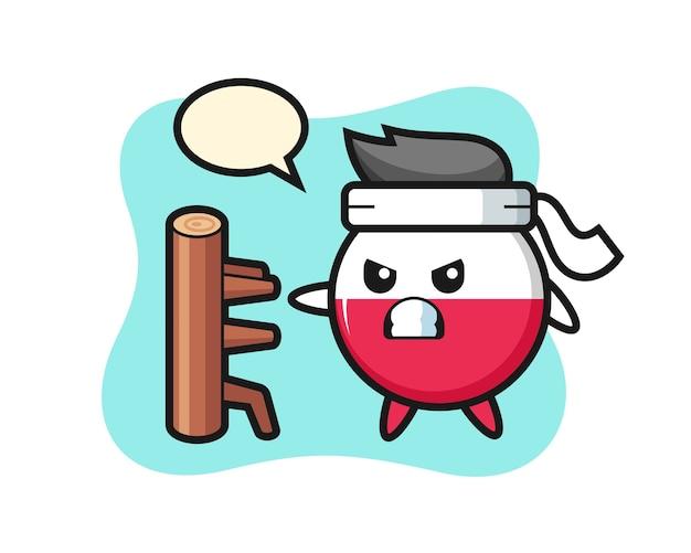 Polen-flaggenabzeichen-karikatur als karatekämpfer