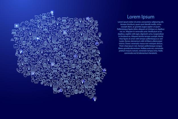 Polen-karte aus blauen und leuchtenden sternensymbolen mustersatz von seo-analysekonzept oder entwicklung, geschäft. vektor-illustration.
