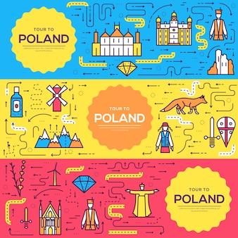 Polen karten dünne linie gesetzt Premium Vektoren