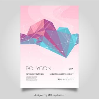 Poligonal Flyer in sanften Farben