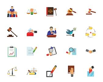 Politik und Gerechtigkeit Icon-Set