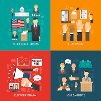Politik und wahl-flaches konzept