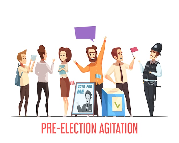 Politik-vorwahl-karikaturszene