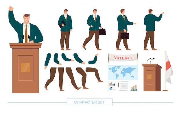 Politiker character constructor flat vector set