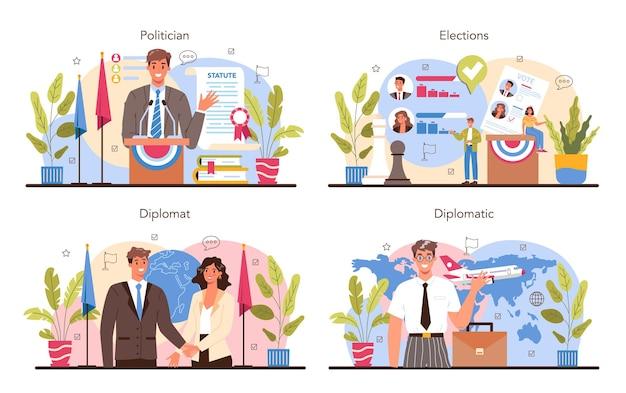 Politiker-konzept-set. wahlen und demokratische regierungsführung. programmaufbau politischer parteien. beruf des diplomaten. länder weltweite vertretung. flache vektorillustration