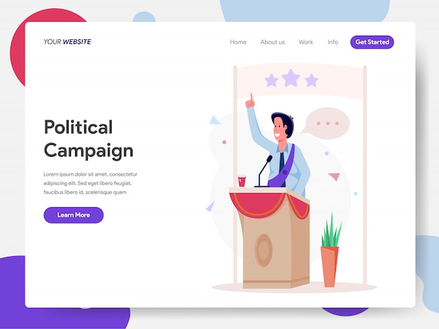 Politikerkampagne auf dem podium