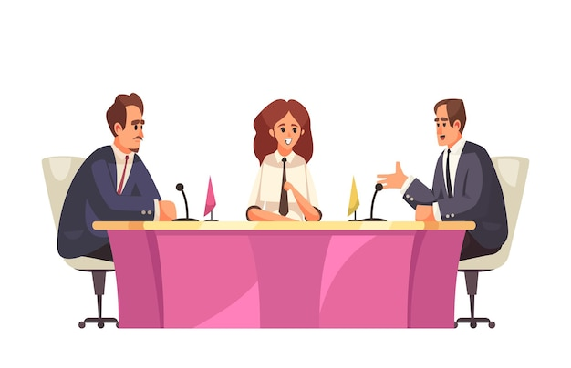 Politische talkshow mit blick auf den besprechungstisch mit politikern, die in mikrofonillustration sprechen