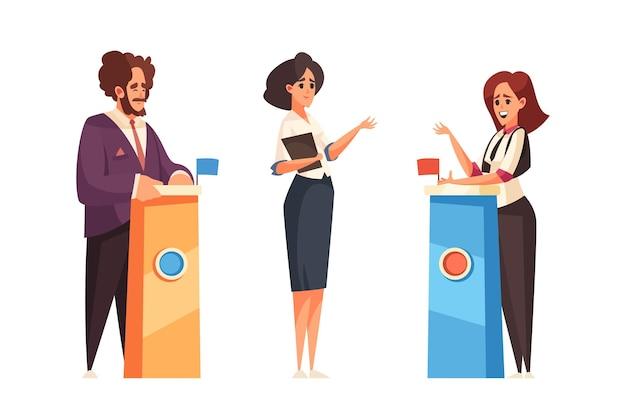 Politische talkshow mit gastgeber und gästen, die an ihren tribünen stehen
