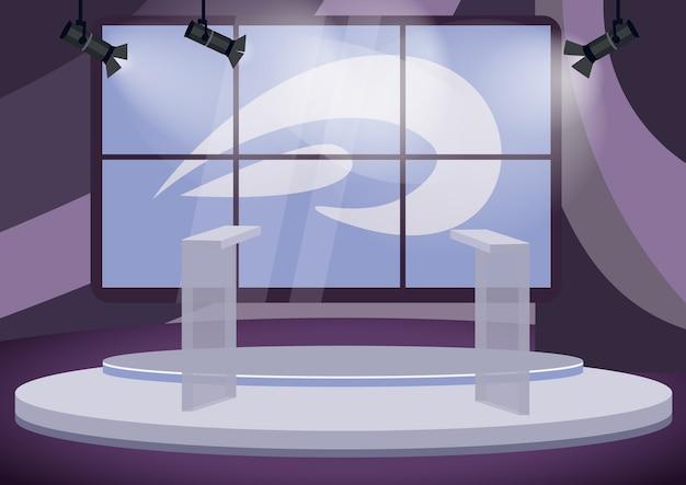 Politische talkshow studio farbillustration. leere bühnenkarikaturinnenseite mit bildschirmen auf hintergrund. professionelle produktion von fernsehprogrammen. tribünen auf dem podium im rampenlicht