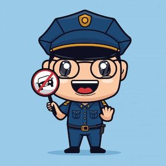 Polizei hält stop-car-zeichen niedliche zeichentrickfigur