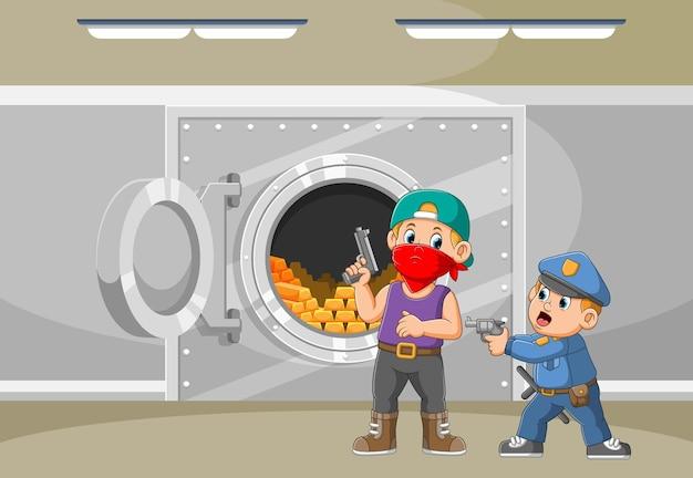Polizei mit waffe fängt den dieb, der die goldene illustration gestohlen hat