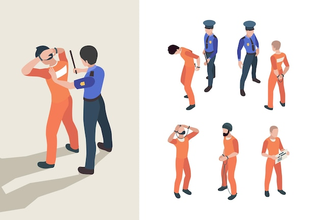 Polizei und gefangene. isometrische bundesgefängnisfiguren personen mit geringer gerechtigkeit, vektorpersonen. polizei und kriminelle, gefängnis und justiz 3d-darstellung