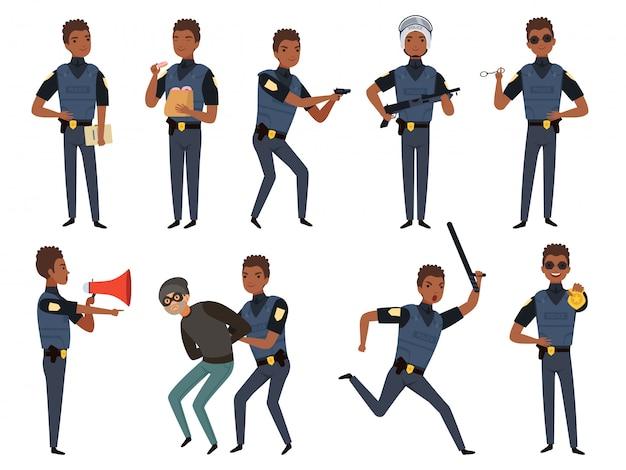 Polizei zeichen. maskottchen der sicherheitsbehörde des streifenpolizisten in der aktion werfen karikaturillustrationen auf