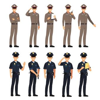 Polizei zeichensatz, illustration zeichentrickfigur.