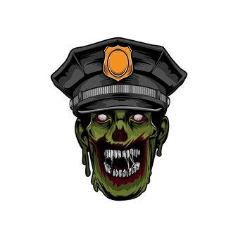 Polizei zombie kopf halloween logo vorlage