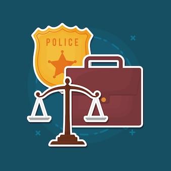 Polizeiabzeichen mit gesetzmaßstab und aktenkoffer