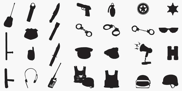 Polizeiausrüstung set silhouetten