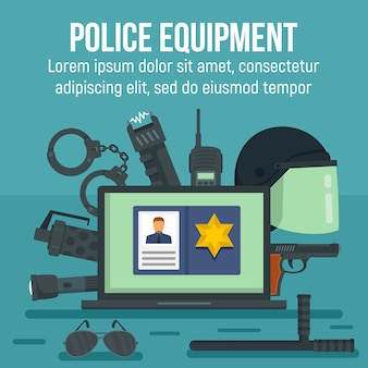 Polizeiausrüstungsschablone, flacher stil