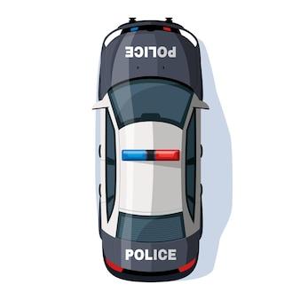 Polizeiauto halb flach rgb-farbvektorillustration. sicherheitsfahrzeug mit sirenenlicht. polizeivollzugstransport. patrol auto isoliert cartoon-objekt draufsicht auf weißem hintergrund