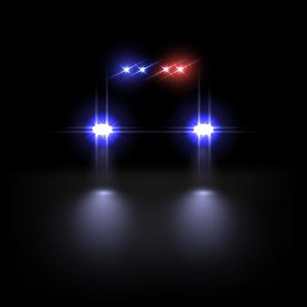 Polizeiauto lichteffekt auf dunklem hintergrund