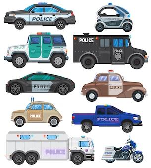 Polizeiauto-politikfahrzeug und motorrad oder motorrad des polizistenillustrationssatzes des transports und des polizeidienstautos oder des lastwagens des polizeibeamten lokalisiert auf weißem hintergrund