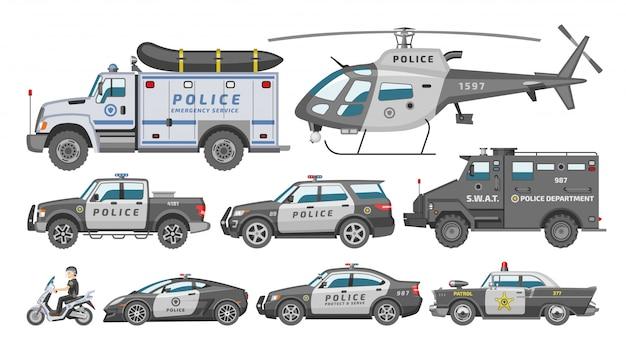 Polizeiauto-richtlinienfahrzeug oder hubschrauber und polizist auf motorradillustrationssatz des transport- und polizeidienstautos der polizeibeamten auf weißem hintergrund