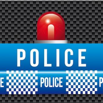 Polizeibänder über schwarzer hintergrundvektorillustration