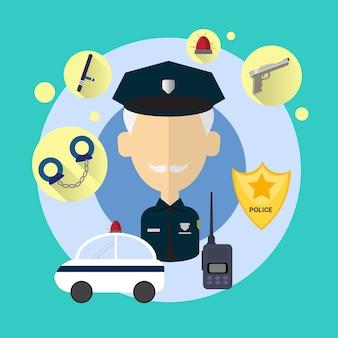 Polizeibeamte-ältere mann-ikonen-flache vektor-illustration