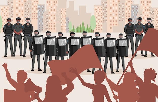 Polizeibeamte in uniform gegen protestierende personen flache illustration. menschen mit fahnen und lautsprechern protestieren gegen ungerechtigkeit, polizisten schützen die stadt vor zerstörung.