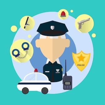 Polizeibeamte senior woman icon flache vektor-illustration