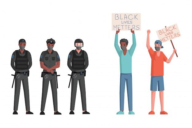 Polizeibeamte und männer in den gesichtsmasken, die plakate und fahnen mit flacher illustration des schwarzen lebensmateriewortes halten.
