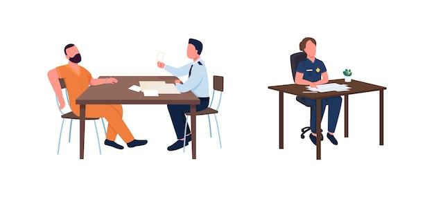 Polizeibeamter arbeiten flache farbe gesichtslosen zeichensatz verhörverdächtigen verbrechensermittlungsverfahren isolierte karikaturillustration