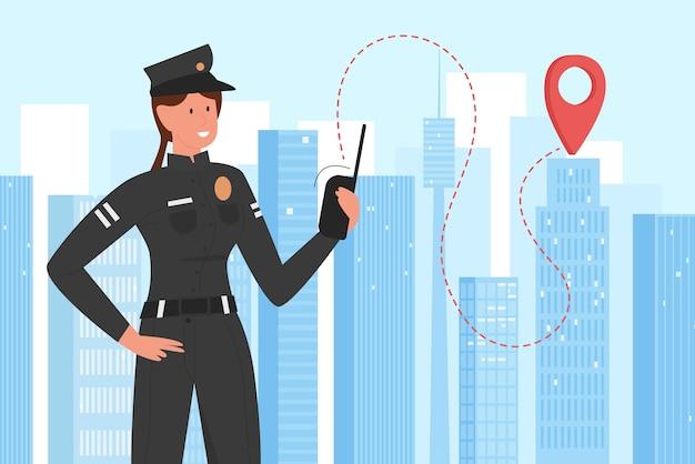 Polizeibeamter, der im stadtbild arbeitet, patrouillenpolizistenpatrouillecharakter mit walkie-talkie