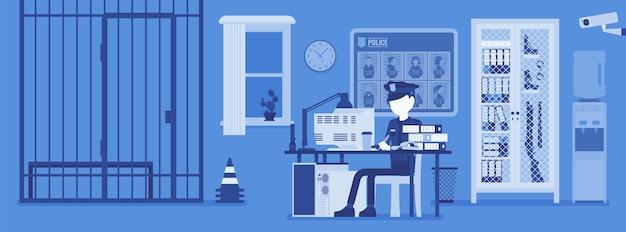 Polizeidienststelle und ein polizist arbeiten
