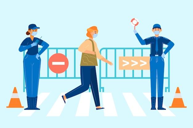 Polizeikontrolle und zivilist mit medizinischer maske