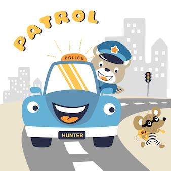 Polizeipatrouillekarikatur mit einem lustigen banditen