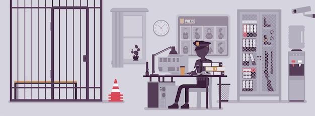 Polizeistationsbüro und ein polizist arbeiten. männlicher offizier, der am arbeitsplatz in der stadtabteilung sitzt, rauminnenraum mit professionellen werkzeugen, steckbrief. vektorillustration mit gesichtslosen charakteren