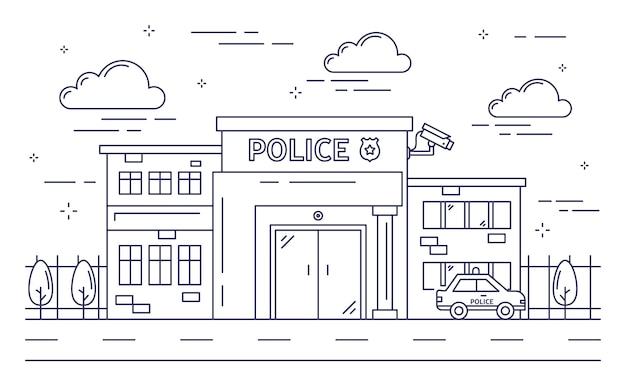 Polizeistationsgebäude. Premium Vektoren