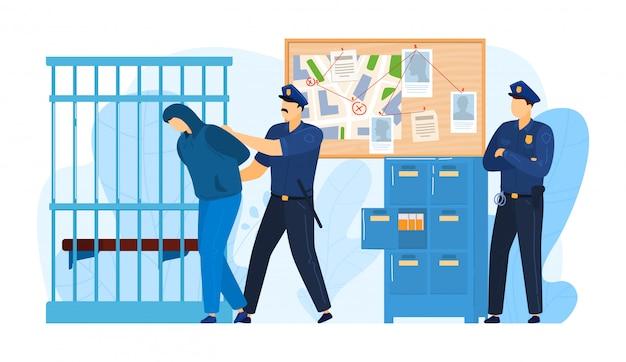 Polizeistationsplatz, haftverbrecher durch polizeibeamte arbeiten miliz, verbrecher mann legte gefängnis isoliert auf weiß, cartoon-illustration.