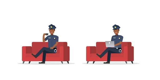 Polizist arbeitet charakter