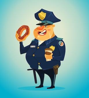Polizist charakter, der donuts isst und kaffee trinkt