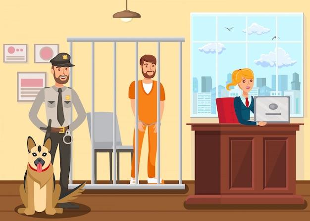Polizist, der einen verdächtigen bewacht