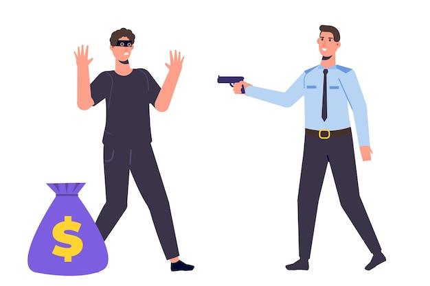 Polizist fängt dieb mit geld. vektorillustration im cartoon-stil.