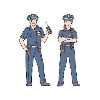 Polizist frau und mann in berufsuniform. illustration im strichkunststil lokalisiert auf weiß