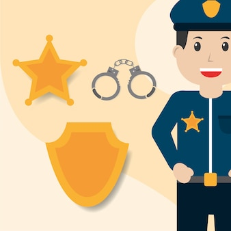 Polizist handschellen abzeichen und sterne insignien