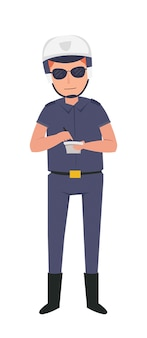 Polizist im dienst auf der autobahn