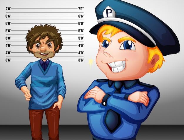 Polizist in uniform und kriminell