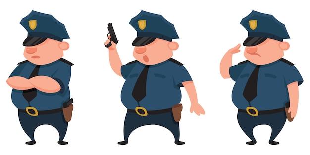 Polizist in verschiedenen posen. männliche figur im cartoon-stil.