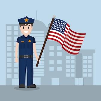 Polizist mit flagge der vereinigten staaten